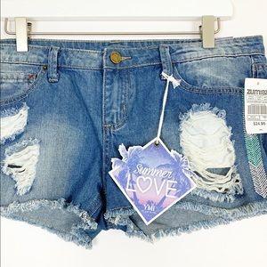 NWT YMI Distressed Embroidered Denim Shorts - 9